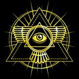 Eye of Providence. All seeing eye inside triangle pyramid. Royalty Free Stock Image