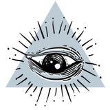 Eye of Providence. Masonic symbol. All seeing eye inside triangl Stock Photo