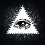 Eye of Providence. Masonic symbol. All seeing eye inside triangl Royalty Free Stock Image