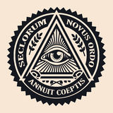 Eye of Providence. Masonic symbol. Conspiracy theory. parchment, Royalty Free Stock Images