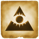 Eye of providence pyramid old paper. All seeing eye. God sign. Mystery symbol marked on weathered papyrus Royalty Free Stock Photo