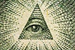 Eye of Providence US 1 bill. Macro Stock Photo