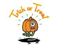 1eye pumpkin head happy in halloween. Hand draw vector cartoon illustration Stock Photo