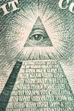 Eye of the Pyramid. The pyramid and eye from the back of a One Dollar bill Royalty Free Stock Images