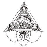 Eye Pyramid Black. Art Abstract vector illustration