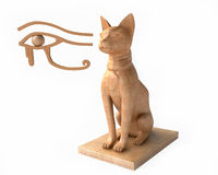 Eye Ra And Egyptian God Bastet. Egyptian God Bastet in 3D Stock Photography