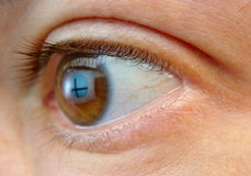 An eye with the reflection of a cross on it Royalty Free Stock Image