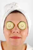 Eye rest #3. Woman with cucumber on her eyes Royalty Free Stock Image
