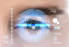 Eye Retina Scanning Recognition System Biometric Identification Technology Access Control Concept. Vector Illustration Royalty Free Stock Image