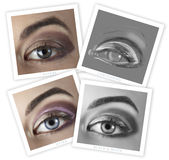 Eye retouching before and after Royalty Free Stock Images
