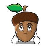 Eye roll acorn cartoon character style Royalty Free Stock Image