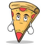 Eye roll pizza character cartoon. Vector illustration Stock Photography