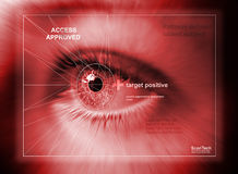 Eye scan. Photo utilising modern technology to scan eyes stock illustration