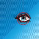 Eye scan Biometrics. Biometrics - eye with iris and target identifing person - background pattern one piece royalty free illustration