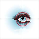 Eye scan biometrics. With geometric elements and target on eye Stock Photography