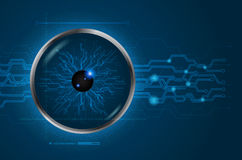 Eye scan concept of digital and technological. Cyber data digital. Blue abstract light hi speed internet technology background, Vector illustration Royalty Free Stock Photography