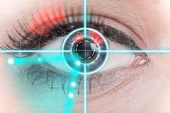Eye scan interface. Woman eye scan interface close-up Royalty Free Stock Photography