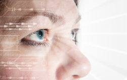 Eye scan iris biometric. Iris scan, biometric scanning of eye retina for identification. Close-up of woman's pupil with high-tech graphic overlay royalty free stock images