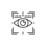 Eye scan line icon, outline vector sign. Linear pictogram isolated on white. Iris scanner symbol, logo illustration stock illustration