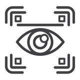 Eye scan line icon, security and iris scanner. Vector graphics, a linear pattern on a white background, eps 10 royalty free illustration