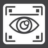 Eye scan solid icon, security and iris scanner. Vector graphics, a glyph pattern on a black background, eps 10 royalty free illustration
