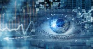 Eye scanning. Concept image. Close up of human eye on digital technology background stock photography