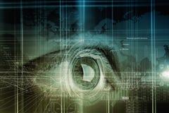 Eye scanning. Concept image. Close up of human eye on digital technology background royalty free stock images