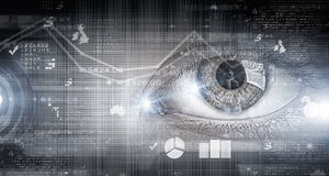 Eye scanning. Concept image. Close up of human eye on digital technology background royalty free stock photography