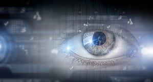Eye scanning. Concept image. Close up of human eye on digital technology background stock images