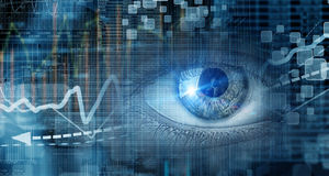 Eye scanning. Concept image. Close up of human eye on digital technology background stock photo