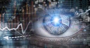 Eye scanning. Concept image. Close up of human eye on digital technology background royalty free stock photos