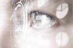 Eye scanning. Concept image. Concept image. Close up of human eye on digital technology background royalty free stock image