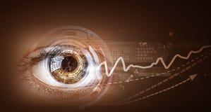 Eye scanning. Concept image. Concept image. Close up of human eye on digital technology background stock photos
