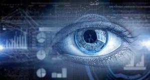 Eye scanning. Concept image. Concept image. Close up of human eye on digital technology background royalty free stock photo