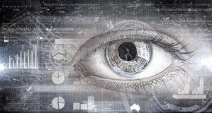 Eye scanning. Concept image. Concept image. Close up of human eye on digital technology background stock images