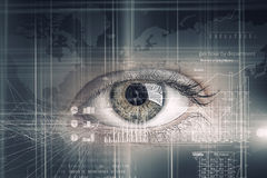 Eye scanning. Concept image. Concept image. Close up of human eye on digital technology background royalty free stock photography