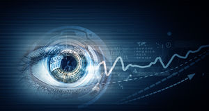 Eye scanning. Concept image. Concept image. Close up of human eye on digital technology background royalty free stock images