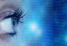 Eye scanning data. Woman eye and data screen, security and internet concept Royalty Free Stock Image