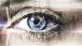 Eye scanning a futuristic interface stock footage