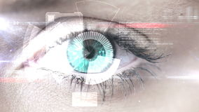 Eye scanning a futuristic interface stock video footage
