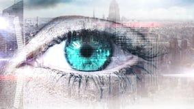 Eye scanning a futuristic interface stock video