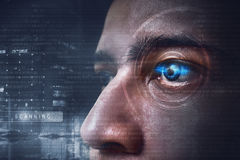 Eye scanning technology. Future modern eye scanning technology Royalty Free Stock Images