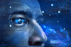 Eye scanning technology. Future modern eye scanning technology Royalty Free Stock Photo