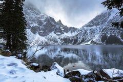 Eye of the Sea lake in Tatra mountains at winter. Beautiful Tatra mountains view at Eye of the Sea lake, Poland Stock Photo