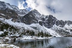 Eye of the Sea lake in Tatra mountains at winter Royalty Free Stock Image