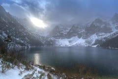 Eye of the Sea lake in Tatra mountains at winter. Beautiful winter at Eye of the Sea lake in in Tatra mountains, Poland Royalty Free Stock Photos