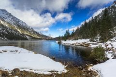 Eye of the Sea lake in Tatra mountains at winter Stock Images