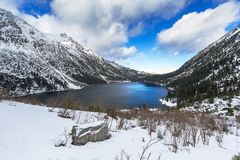 Eye of the Sea lake in Tatra mountains at winter. Poland Stock Photos
