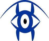 Eye see form. Abstract eye illustration, blue, open and unigue Stock Photography