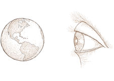 Eye sees the world Stock Image
